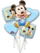 MICKEY MOUSE 1st #1 First One BIRTHDAY Baby PARTY (5) Mylar Foil Balloon Kit SET