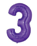 Single Source Party Suppies - 100cm Megaloon Purple Number 3 Mylar Foil Balloon