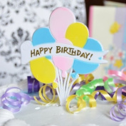 Happy Birthday & Balloons Pick (2 Count) - Pastel Colours