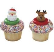 Santa and Reindeer Rings, Set of 12