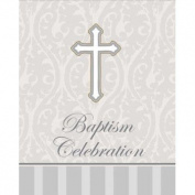 Creative Converting Devotion Cross Baptism Celebration Invitations, Silver, 8 Count