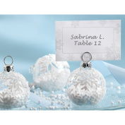 Snow Flurry- Flocked Glass Ornament Place Card/Photo Holder