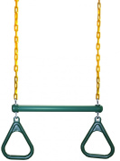 Eastern Jungle Gym Ring/Trapeze Bar Combo with Coated Chains, Green/Yellow