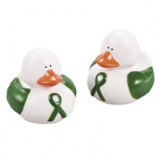 12 Green Awareness Ribbon Rubber Duckies