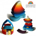 "Grimm's Giant ""Boat on the Water"" Wooden Rainbow Stacking Tower, 11 Blocks"