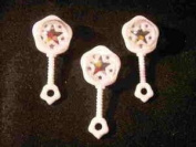 24 Small Plastic Rattles with Beads Inside For Noise - White