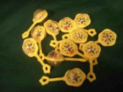 24 Small Plastic Rattles with Beads Inside For Noise - Yellow