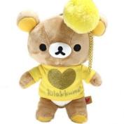 San-X Rilakkuma Fluffy Plush Doll Pouch with Pompon Key Charm