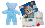 """Make Your Own Stuffed Animal """"Baby Blue Patch Bear"""" - No Sew - Kit With Cute Backpack!"""