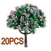 20Pcs 6.4cm Scenery Landscape Train Model Trees w/ Pink Flowers - Scale 1/100