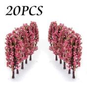 8.4cm Green Train Set Scenery Landscape Model Tree with Peach Flowers Scale 1/200 - 20PCS