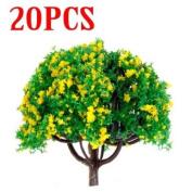 20pcs 7.1cm Scenery Landscape Train Model Trees w/ Yellow Flowers - Scale 1/100