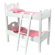 46cm Doll Furniture, Bunk Bed in White Cutout Design, Ladder & 2 Doll Bedding Sets, For 46cm American Girl Dolls & More! Also Breaks Down into Two Separate White Beds