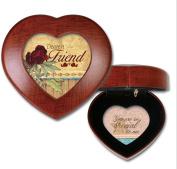 Cottage Garden Dearest Friend Woodgrain Petite Heart Music Box / Jewellery Box Plays Wonderful World