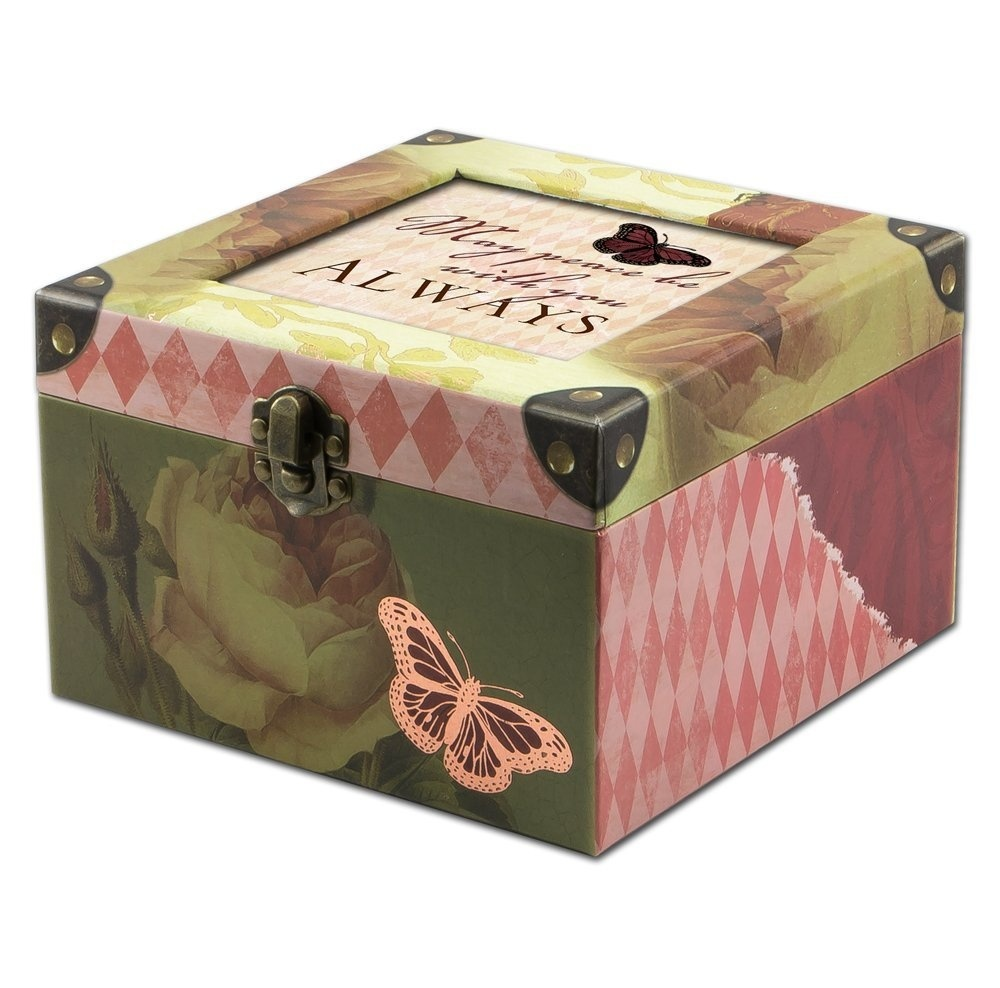 Cottage Garden May Peace Be With You Belle Papier Square Musical Jewellery Box With Vintage Romance Finish Plays Wonderful World
