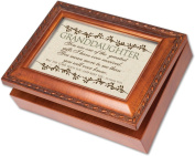 Cottage Garden Granddaughter Woodgrain Music Box / Jewellery Box Plays Amazing Grace