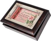 Cottage Garden Grandma Burlwood With Silver Inlay Italian Style Music Box / Jewellery Box Plays How Great Thou Art