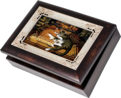 Cottage Garden Hearts Of Fire Burlwood With Silver Inlay Italian Style Music Box / Jewellery Box Plays Friend In Jesus