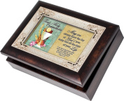 Cottage Garden First Communion Burlwood With Silver Inlay Italian Style Music Box / Jewellery Box Plays Friend In Jesus