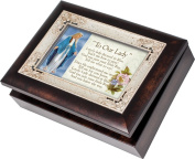 Cottage Garden Our Lady Dressed In Blue Burlwood With Silver Inlay Italian Style Music Box / Jewellery Box Plays Ave Maria