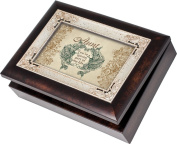 Cottage Garden Aunt Burlwood With Silver Inlay Italian Style Music Box / Jewellery Box Plays Light Up My Life