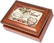 Cottage Garden Aunt Woodgrain Music Box / Jewellery Box Plays Amazing Grace