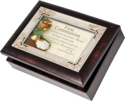 Cottage Garden First Communion Burlwood With Silver Inlay Italian Style Music Box / Jewellery Box Plays How Great Thou Art