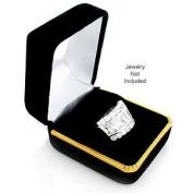 Black Velvet Ring Gift Jewellery Box w/ Gold Trim