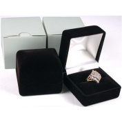 2 Black Flocked Ring Gift Boxes Jewellery Displays