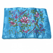 Large Silk Embroidered Jewellery Rolls - Sky Blue