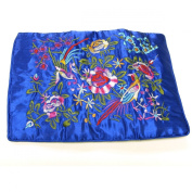Large Silk Embroidered Jewellery Rolls - Royal Blue