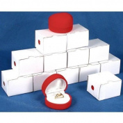 12 Red Flocked Ring Heart Gift Boxes Jewellery Displays