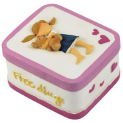 5.1cm Girl Hugging Teddy Bear In Blue Jeans Skirt Trinket Box