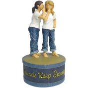 15.2cm 2 Girl Friends Share Secret In Blue Jeans on Blue Trinket Box
