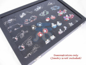 Black Velvet 20 Compartment Counter Glass Top Lid Display Case / Tray / Box /Organiser / Holder for Jewellery Retail Shop