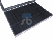 Black Velvet 18 Compartment Counter Glass Top Lid Display Case / Tray / Box /Organiser / Holder for Jewellery Retail Shop