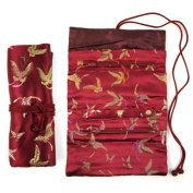 Brocade Jewellery Roll - Burgundy Butterfly