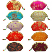 Silk Embroidered Brocade Oriental Fan Zipper Jewellery Coin Pouch Wallet Set of 10 - Various Colours