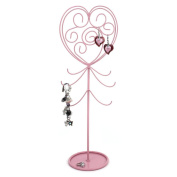 Pretty in Pink Girls Ladies Heart Jewellery Bracelet Necklace Earring Ring Stand Tower Organiser by Bucasi