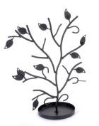 Jewellery Tree Table Top Décor Earrings Holder / Bracelets Necklace Organiser Stand Display Tower - Matte Black Metal