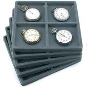 5 Grey 4 Slot 1/2 Size Jewellery Display Tray Inserts
