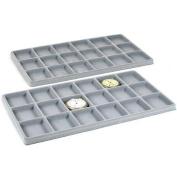 2 Grey 18 Slot Coin Jewellery Showcase Display Tray Inserts