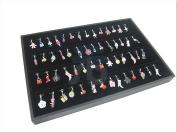 Black Velvet Jewellery Display Case for Pendants Charms, 56 Clips