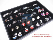 Black Velvet 20 Compartment Counter Display Case / Tray / Box /Organiser / Holder for Jewellery Retail Shop