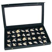 32 Earring Jewellery Display Case Clear Top Black New