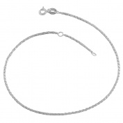 Sterling Silver 1.1-mm Twisted Box Adjustable Anklet