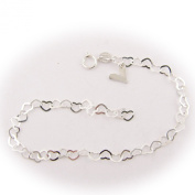 Sterling Silver Flat Heart Link Charm Anklet Nickel Free Chain Italy Adjustable