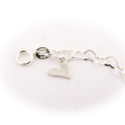 Sterling Silver Flat Heart Link Charm Anklet Nickel Free Italy 24.1cm