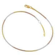 14 Karat Tri-colour Gold over Silver 1.4-mm Popcorn Adjustable Anklet
