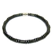 Mens Magnetic Hematite Cylindrical Bead Anklet Bracelet 25.4cm